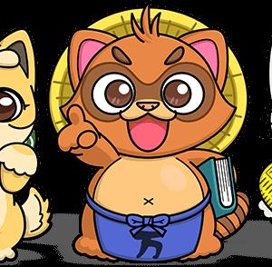 画像:柴犬・狸・猫キャラクターイラスト