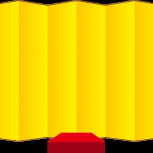 画像:屏風と座布団台